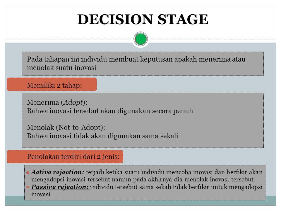 DECISION STAGE Pada tahapan ini individu membuat keputusan apakah menerima atau menolak suatu inovasi Memiliki 2 tahap: Menerima (Adopt): Bahwa inovas