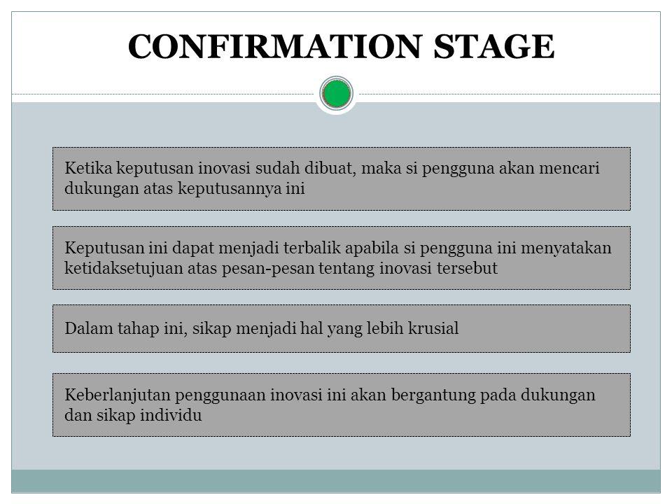 CONFIRMATION STAGE Ketika keputusan inovasi sudah dibuat, maka si pengguna akan mencari dukungan atas keputusannya ini Keputusan ini dapat menjadi ter