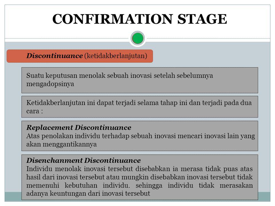 CONFIRMATION STAGE Suatu keputusan menolak sebuah inovasi setelah sebelumnya mengadopsinya Discontinuance (ketidakberlanjutan) Ketidakberlanjutan ini