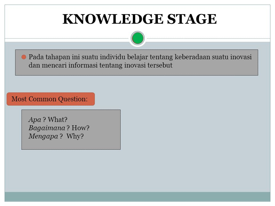 Menurut Rogers, pertanyaan ini akan membentuk tiga jenis pengetahuan ( knowledge ): KNOWLEDGE STAGE Awareness-knowledge Pengetahuan akan keberadaan suatu inovasi.