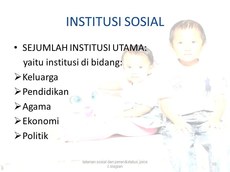 INSTITUSI SOSIAL SEJUMLAH INSTITUSI UTAMA: yaitu institusi di bidang:  Keluarga  Pendidikan  Agama  Ekonomi  Politik tatanan sosial dan peran&sta