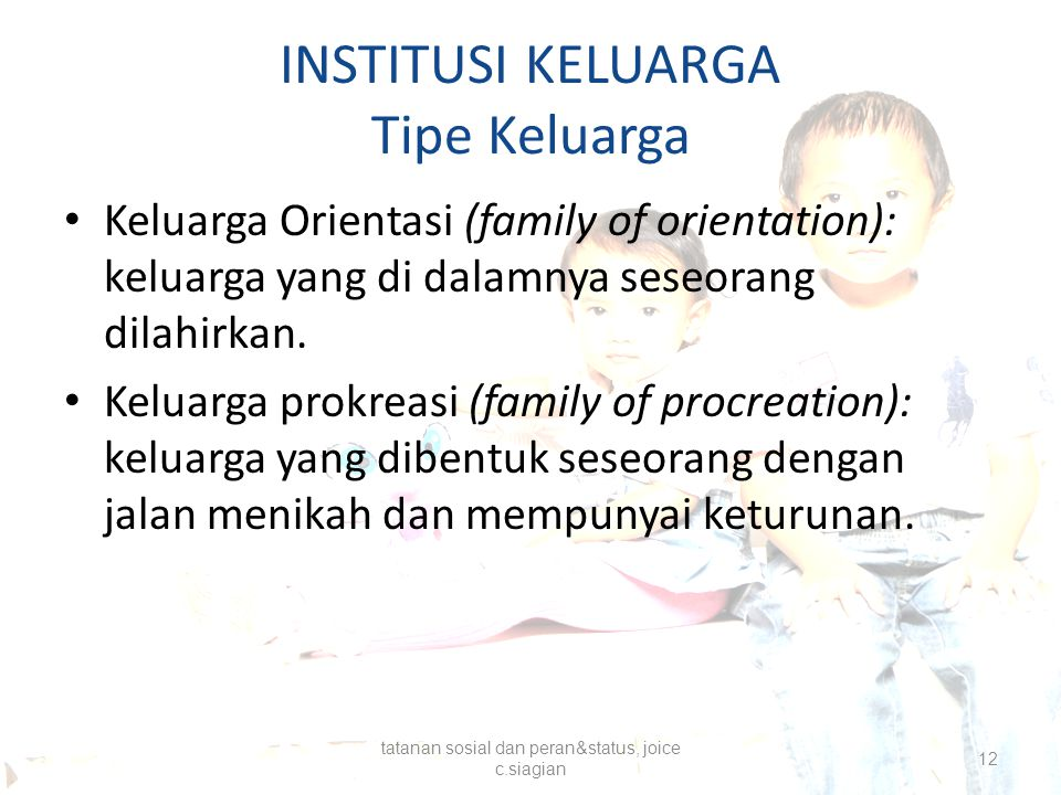 INSTITUSI KELUARGA Tipe Keluarga Keluarga Orientasi (family of orientation): keluarga yang di dalamnya seseorang dilahirkan. Keluarga prokreasi (famil