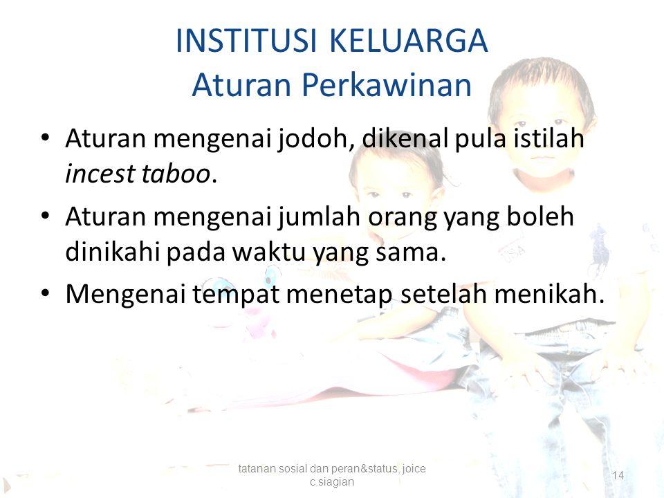 INSTITUSI KELUARGA Aturan Perkawinan Aturan mengenai jodoh, dikenal pula istilah incest taboo. Aturan mengenai jumlah orang yang boleh dinikahi pada w