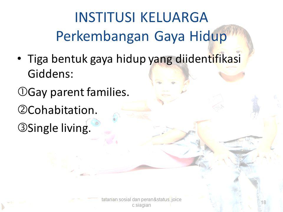 INSTITUSI KELUARGA Perkembangan Gaya Hidup Tiga bentuk gaya hidup yang diidentifikasi Giddens:  Gay parent families.  Cohabitation.  Single living.