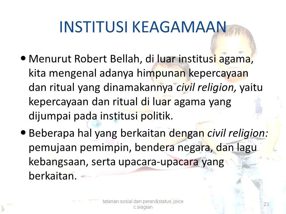 INSTITUSI KEAGAMAAN Menurut Robert Bellah, di luar institusi agama, kita mengenal adanya himpunan kepercayaan dan ritual yang dinamakannya civil relig