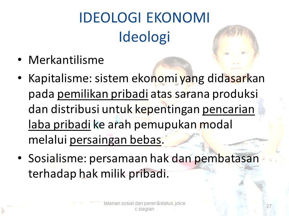 IDEOLOGI EKONOMI Ideologi Merkantilisme Kapitalisme: sistem ekonomi yang didasarkan pada pemilikan pribadi atas sarana produksi dan distribusi untuk k