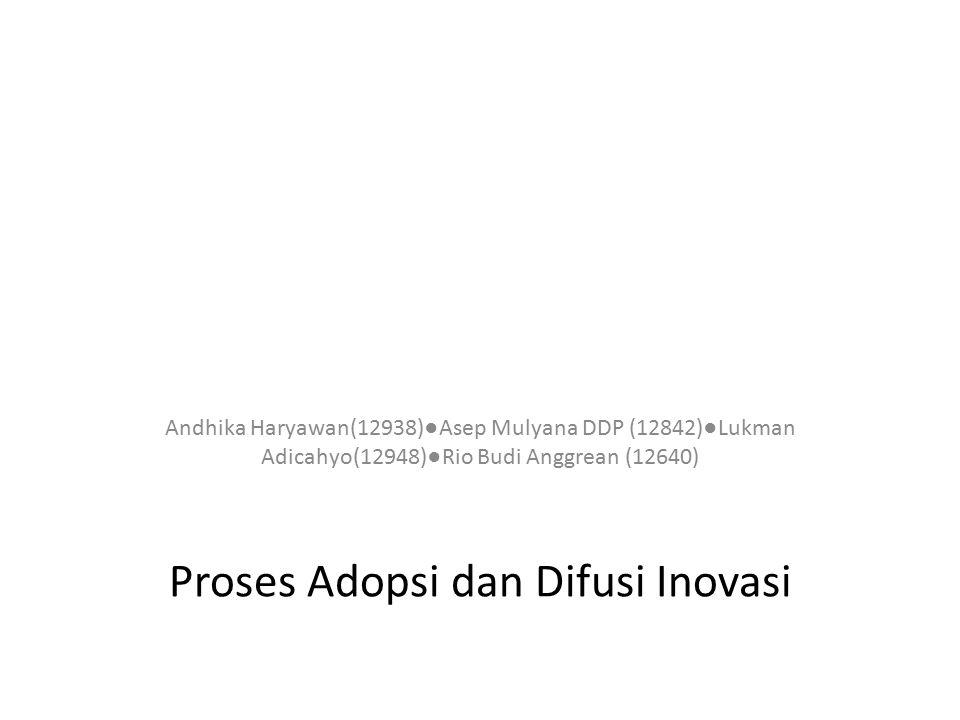 Proses Adopsi dan Difusi Inovasi Andhika Haryawan(12938)●Asep Mulyana DDP (12842)●Lukman Adicahyo(12948)●Rio Budi Anggrean (12640)
