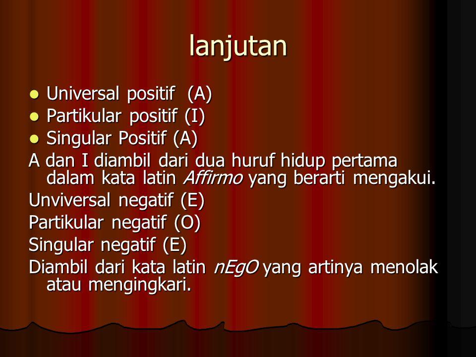 lanjutan Universal positif (A) Universal positif (A) Partikular positif (I) Partikular positif (I) Singular Positif (A) Singular Positif (A) A dan I diambil dari dua huruf hidup pertama dalam kata latin Affirmo yang berarti mengakui.