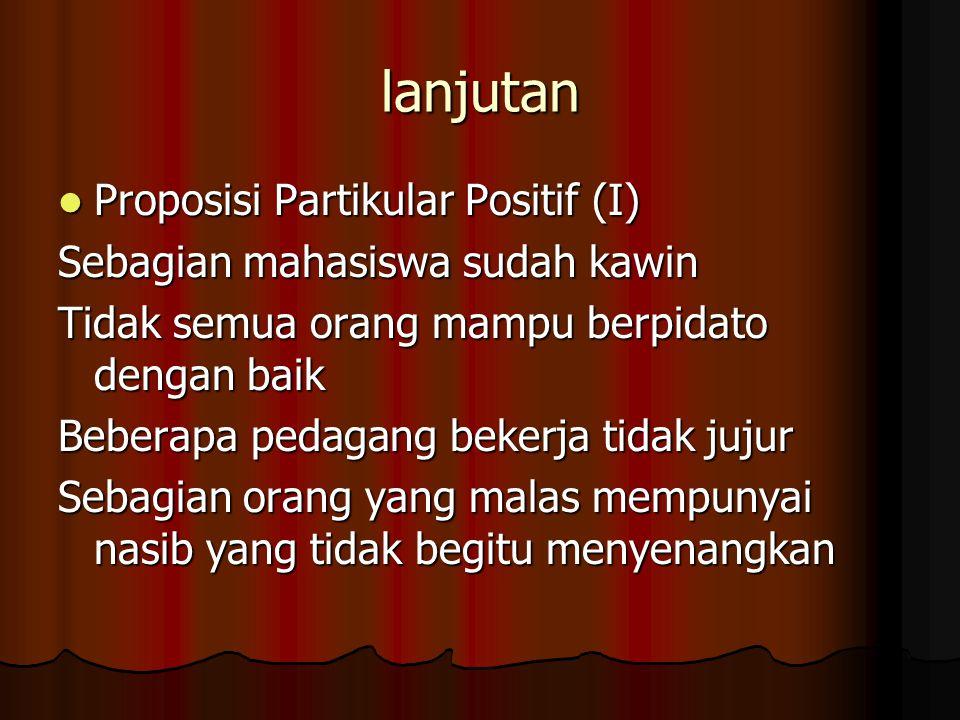 lanjutan Proposisi Partikular Positif (I) Proposisi Partikular Positif (I) Sebagian mahasiswa sudah kawin Tidak semua orang mampu berpidato dengan bai