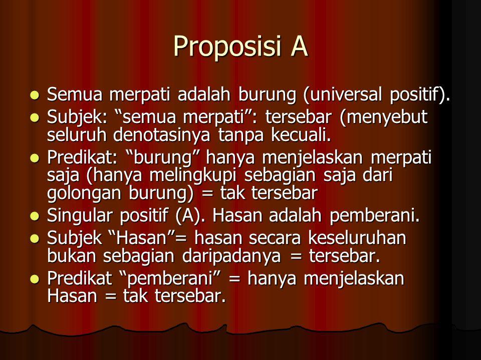 Proposisi A Semua merpati adalah burung (universal positif).