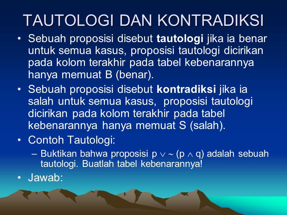 TAUTOLOGI DAN KONTRADIKSI Sebuah proposisi disebut tautologi jika ia benar untuk semua kasus, proposisi tautologi dicirikan pada kolom terakhir pada t