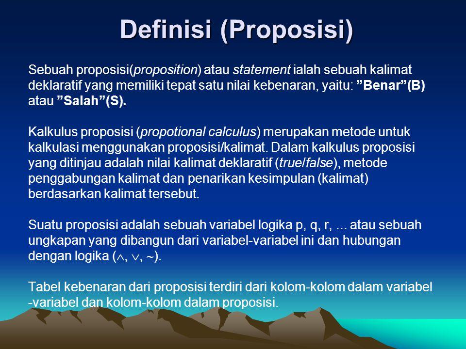 Definisi (Proposisi) Definisi (Proposisi) Sebuah proposisi(proposition) atau statement ialah sebuah kalimat deklaratif yang memiliki tepat satu nilai