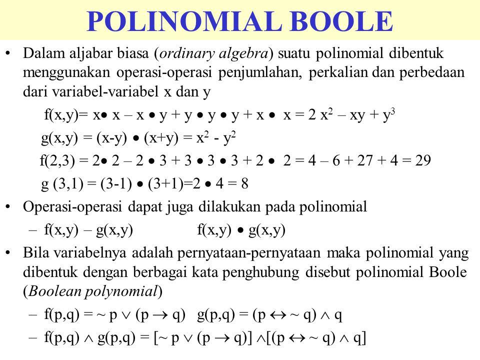 POLINOMIAL BOOLE Dalam aljabar biasa (ordinary algebra) suatu polinomial dibentuk menggunakan operasi-operasi penjumlahan, perkalian dan perbedaan dar