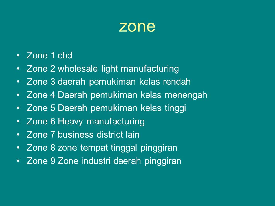 zone Zone 1 cbd Zone 2 wholesale light manufacturing Zone 3 daerah pemukiman kelas rendah Zone 4 Daerah pemukiman kelas menengah Zone 5 Daerah pemukim