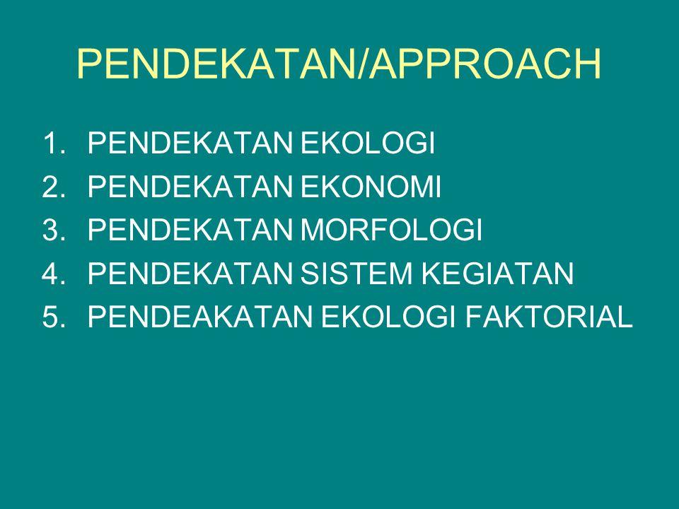 PENDEKATAN/APPROACH 1.PENDEKATAN EKOLOGI 2.PENDEKATAN EKONOMI 3.PENDEKATAN MORFOLOGI 4.PENDEKATAN SISTEM KEGIATAN 5.PENDEAKATAN EKOLOGI FAKTORIAL