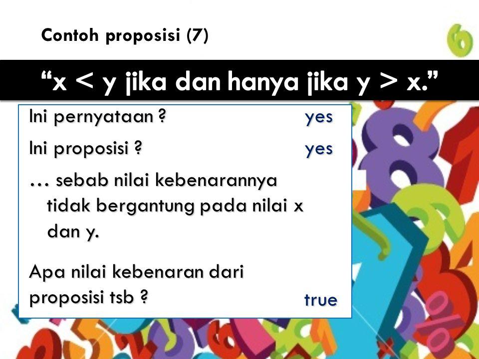 11 Contoh proposisi (7) Ini pernyataan .yes Ini proposisi .