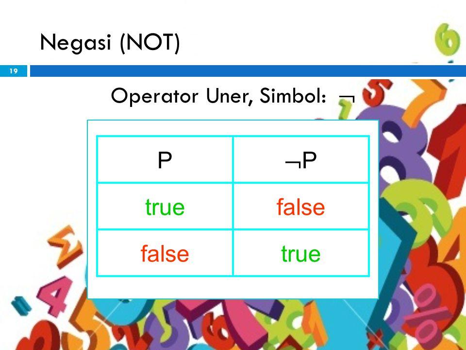 19 Negasi (NOT) Operator Uner, Simbol:  P PP truefalse true