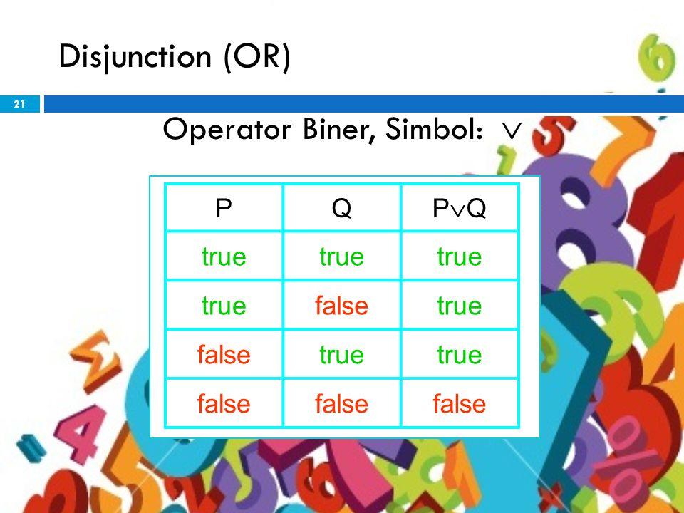 21 Disjunction (OR) Operator Biner, Simbol:  PQ PQPQ true falsetrue falsetrue false