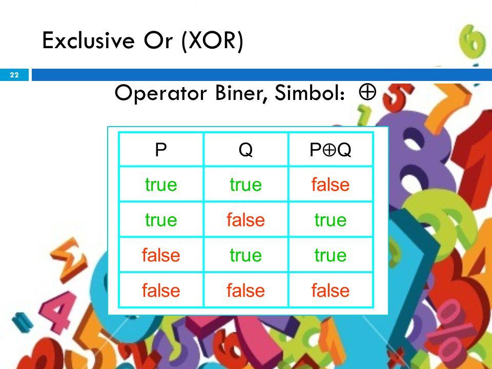 22 Exclusive Or (XOR) Operator Biner, Simbol:  PQ PQPQ true false truefalsetrue falsetrue false
