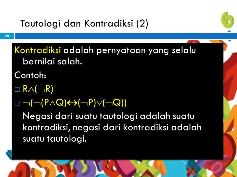 28 Tautologi dan Kontradiksi (2) Kontradiksi adalah pernyataan yang selalu bernilai salah.