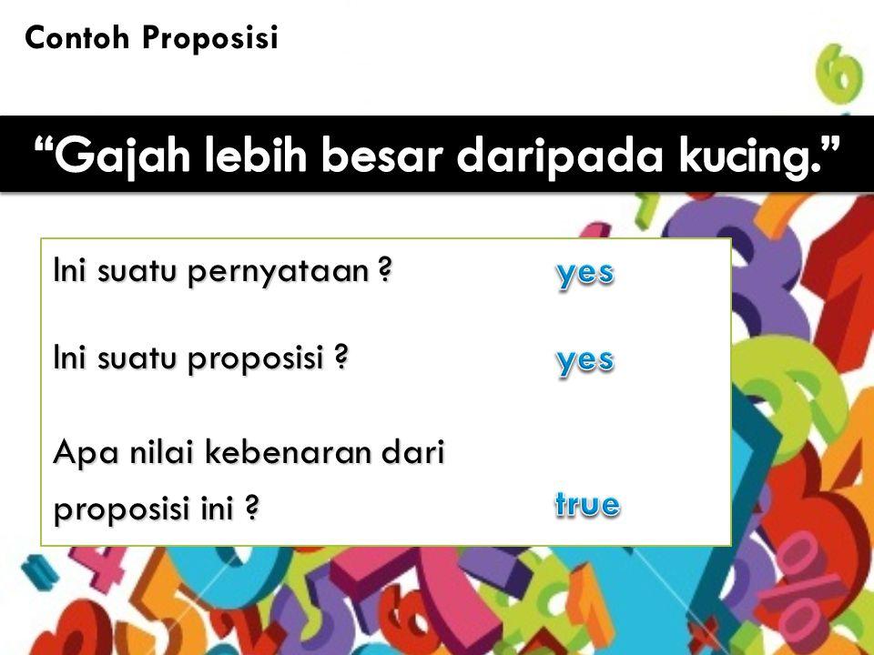 6 Contoh Proposisi (2) Ini pernyataan ? Ini proposisi ? Apa nilai kebenaran dari proposisi ini ?