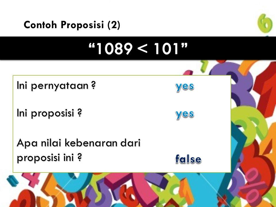 7 Contoh proposisi (3) Ini pernyataan .yes Ini proposisi .