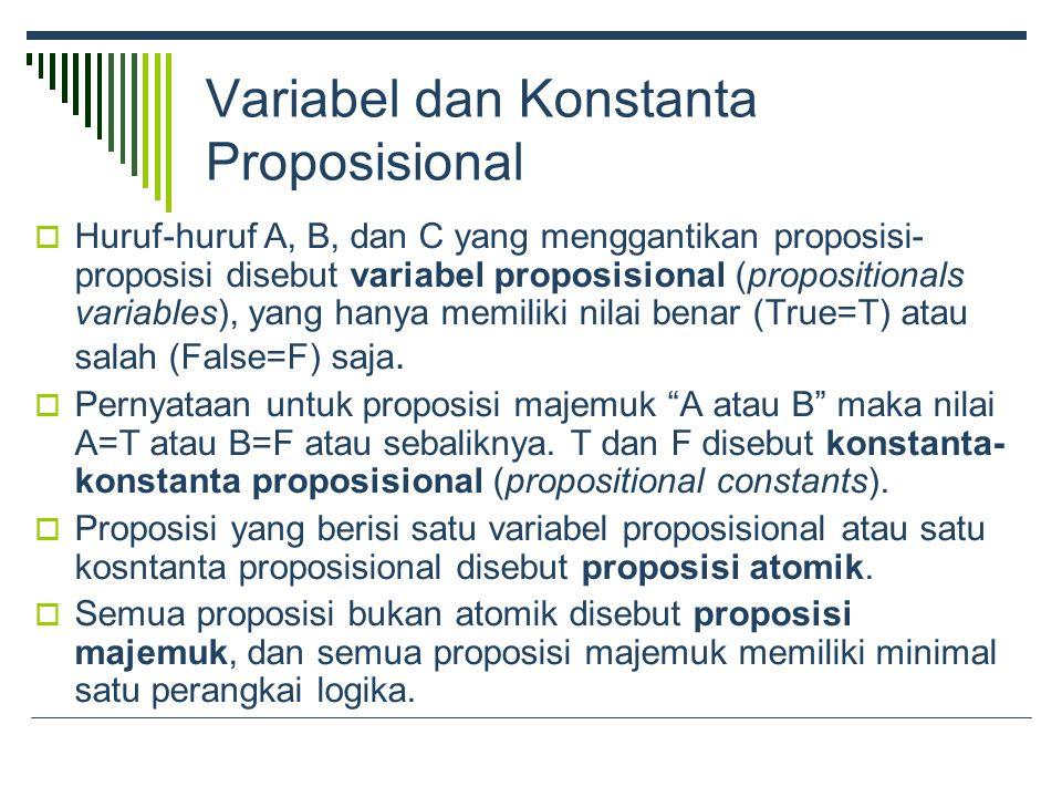 Variabel dan Konstanta Proposisional  Huruf-huruf A, B, dan C yang menggantikan proposisi- proposisi disebut variabel proposisional (propositionals variables), yang hanya memiliki nilai benar (True=T) atau salah (False=F) saja.