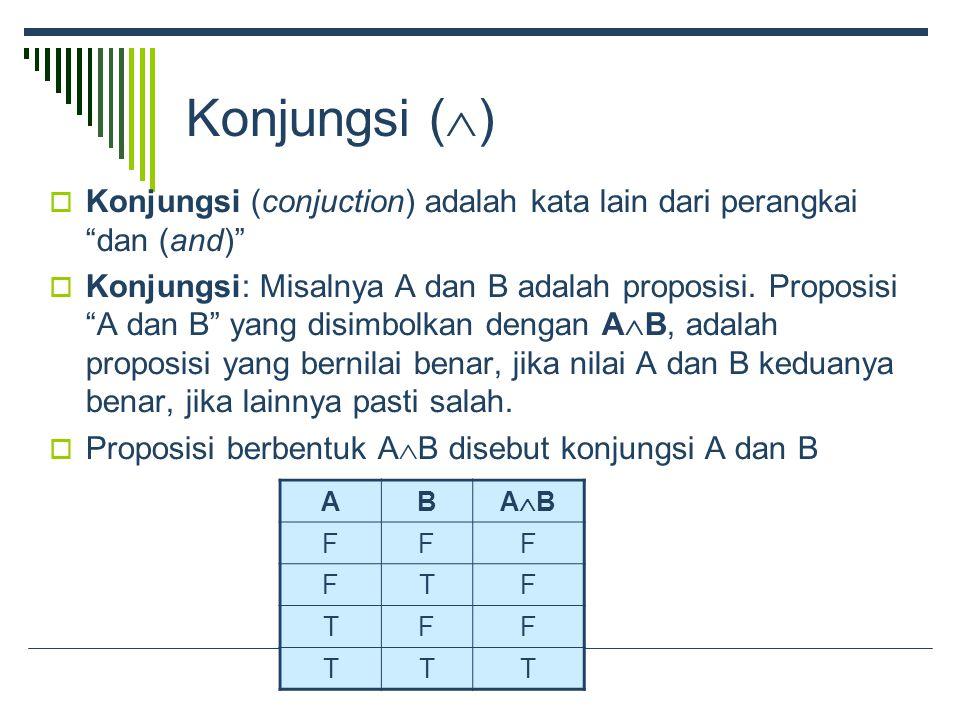 Konjungsi (  )  Konjungsi (conjuction) adalah kata lain dari perangkai dan (and)  Konjungsi: Misalnya A dan B adalah proposisi.