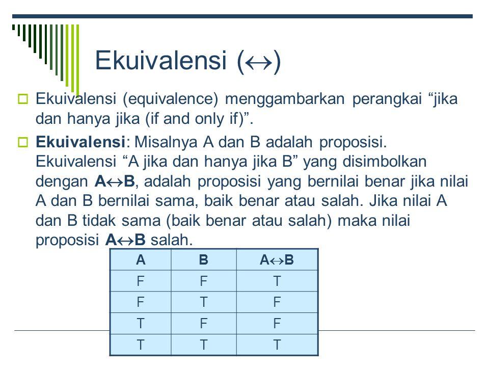 Ekuivalensi (  )  Ekuivalensi (equivalence) menggambarkan perangkai jika dan hanya jika (if and only if) .