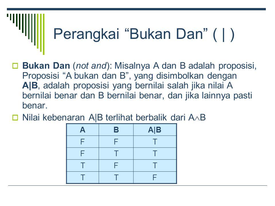 Perangkai Bukan Dan ( | )  Bukan Dan (not and): Misalnya A dan B adalah proposisi, Proposisi A bukan dan B , yang disimbolkan dengan A|B, adalah proposisi yang bernilai salah jika nilai A bernilai benar dan B bernilai benar, dan jika lainnya pasti benar.