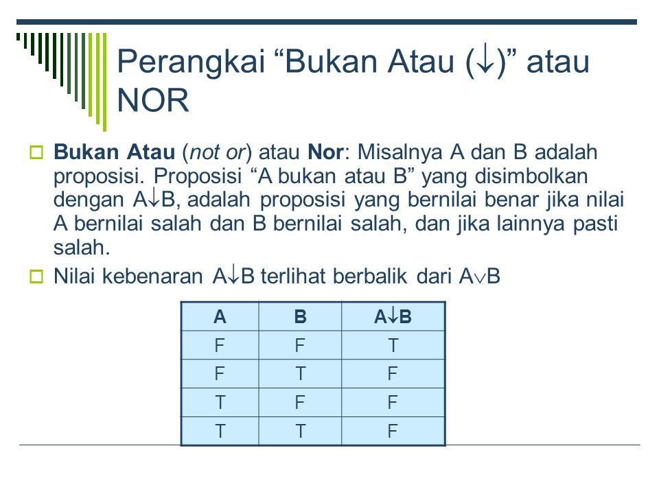 Perangkai Bukan Atau (  ) atau NOR  Bukan Atau (not or) atau Nor: Misalnya A dan B adalah proposisi.