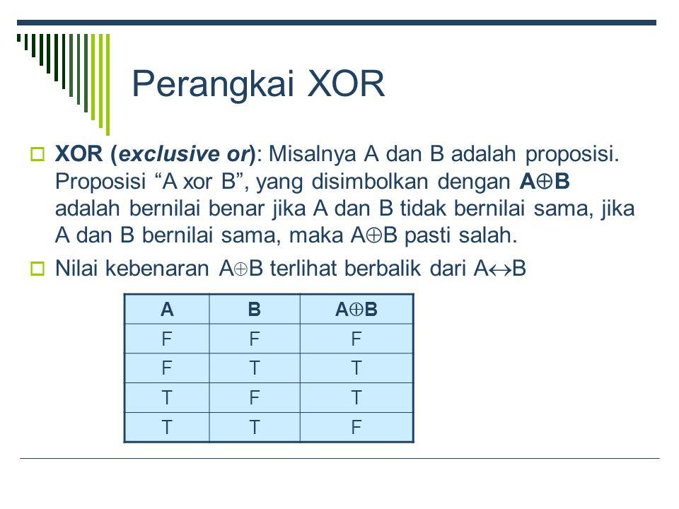 Perangkai XOR  XOR (exclusive or): Misalnya A dan B adalah proposisi.
