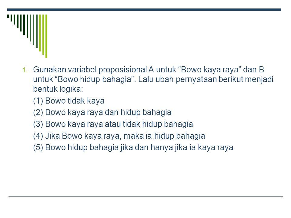 1. Gunakan variabel proposisional A untuk Bowo kaya raya dan B untuk Bowo hidup bahagia .