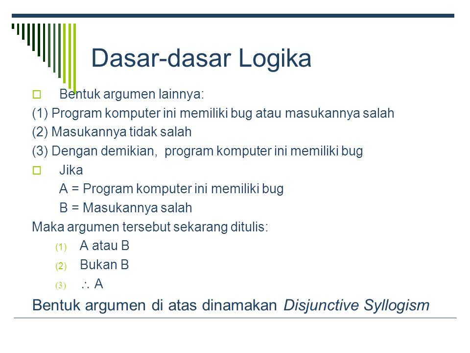 Dasar-dasar Logika  Bentuk argumen lainnya: (1) Program komputer ini memiliki bug atau masukannya salah (2) Masukannya tidak salah (3) Dengan demikian, program komputer ini memiliki bug  Jika A = Program komputer ini memiliki bug B = Masukannya salah Maka argumen tersebut sekarang ditulis: (1) A atau B (2) Bukan B   A Bentuk argumen di atas dinamakan Disjunctive Syllogism