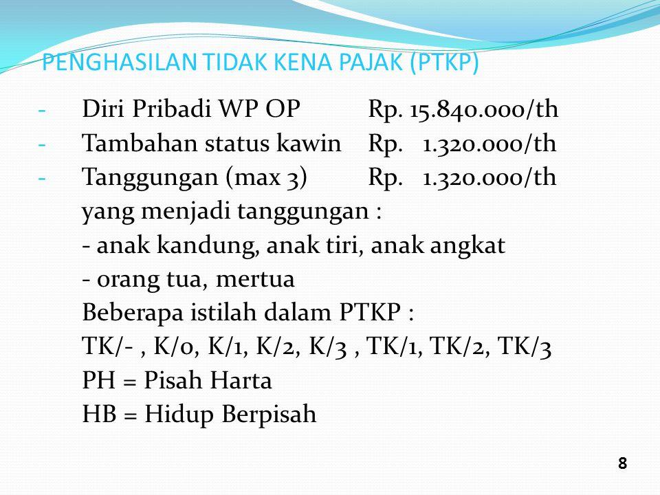 PENGHASILAN TIDAK KENA PAJAK (PTKP) - Diri Pribadi WP OPRp. 15.840.000/th - Tambahan status kawinRp. 1.320.000/th - Tanggungan (max 3)Rp. 1.320.000/th
