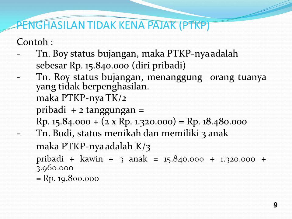 PENGHASILAN TIDAK KENA PAJAK (PTKP) Contoh : - Tn. Boy status bujangan, maka PTKP-nya adalah sebesar Rp. 15.840.000 (diri pribadi) -Tn. Roy status buj
