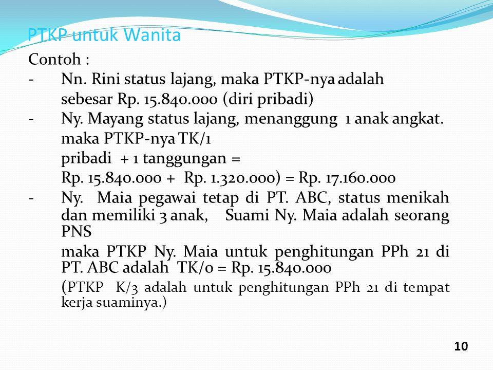 PTKP untuk Wanita Contoh : - Nn. Rini status lajang, maka PTKP-nya adalah sebesar Rp. 15.840.000 (diri pribadi) -Ny. Mayang status lajang, menanggung