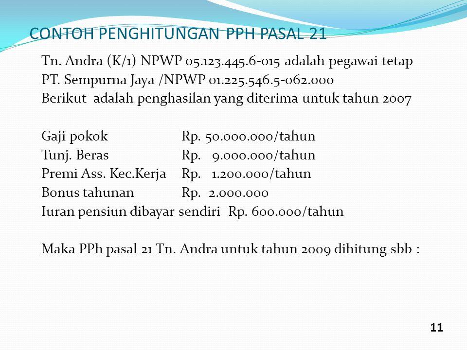CONTOH PENGHITUNGAN PPH PASAL 21 Tn. Andra (K/1) NPWP 05.123.445.6-015 adalah pegawai tetap PT. Sempurna Jaya /NPWP 01.225.546.5-062.000 Berikut adala