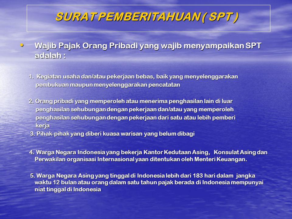 SURAT PEMBERITAHUAN ( SPT ) Wajib Pajak Orang Pribadi yang wajib menyampaikan SPT adalah : Wajib Pajak Orang Pribadi yang wajib menyampaikan SPT adala