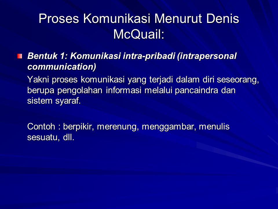 Proses Komunikasi Menurut Denis McQuail: Bentuk 1: Komunikasi intra-pribadi (intrapersonal communication) Yakni proses komunikasi yang terjadi dalam diri seseorang, berupa pengolahan informasi melalui pancaindra dan sistem syaraf.