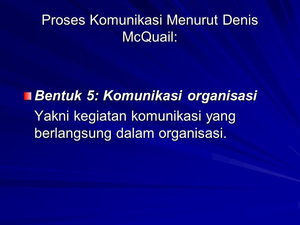 Proses Komunikasi Menurut Denis McQuail: Bentuk 5: Komunikasi organisasi Yakni kegiatan komunikasi yang berlangsung dalam organisasi.