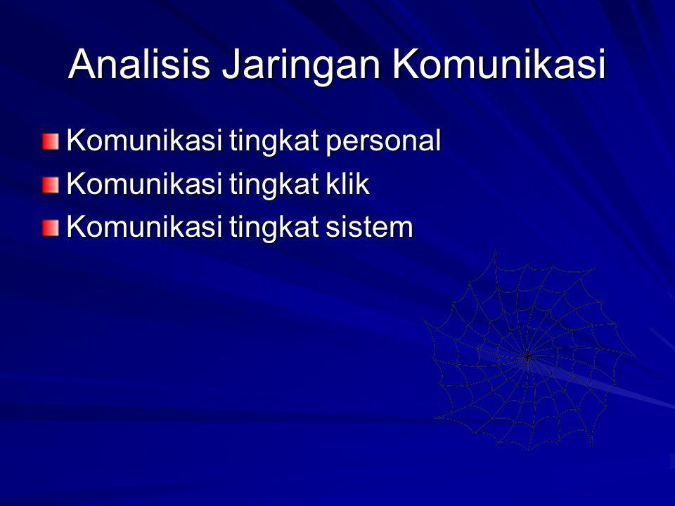 Analisis Jaringan Komunikasi Komunikasi tingkat personal Komunikasi tingkat klik Komunikasi tingkat sistem