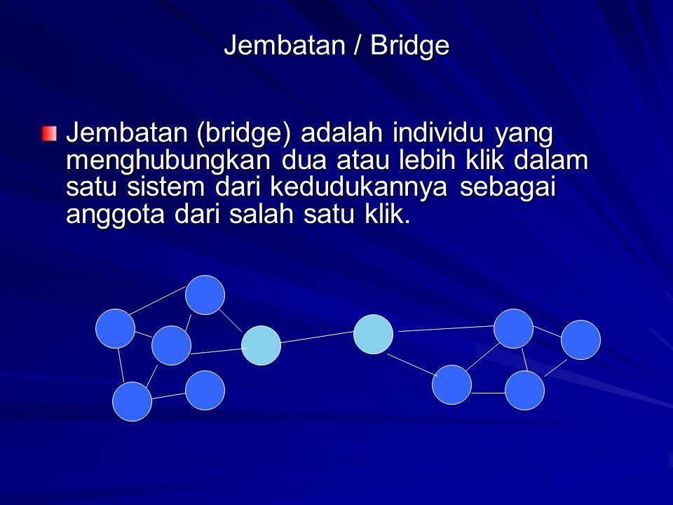 Jembatan / Bridge Jembatan (bridge) adalah individu yang menghubungkan dua atau lebih klik dalam satu sistem dari kedudukannya sebagai anggota dari salah satu klik.