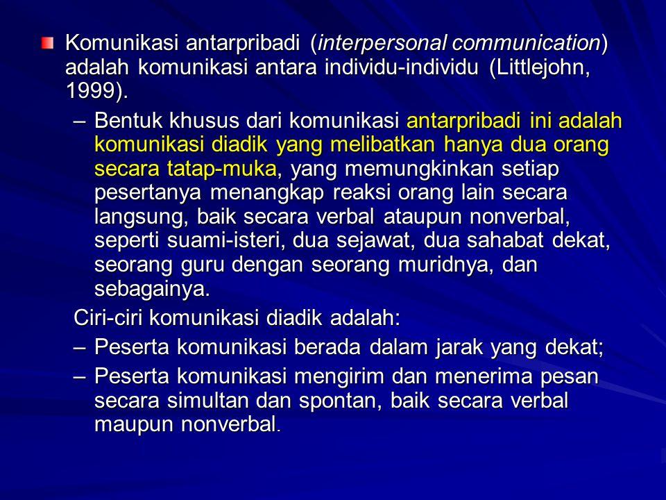 Komunikasi antarpribadi (interpersonal communication) adalah komunikasi antara individu-individu (Littlejohn, 1999).