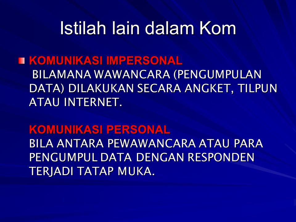 Istilah lain dalam Kom KOMUNIKASI IMPERSONAL BILAMANA WAWANCARA (PENGUMPULAN DATA) DILAKUKAN SECARA ANGKET, TILPUN ATAU INTERNET.