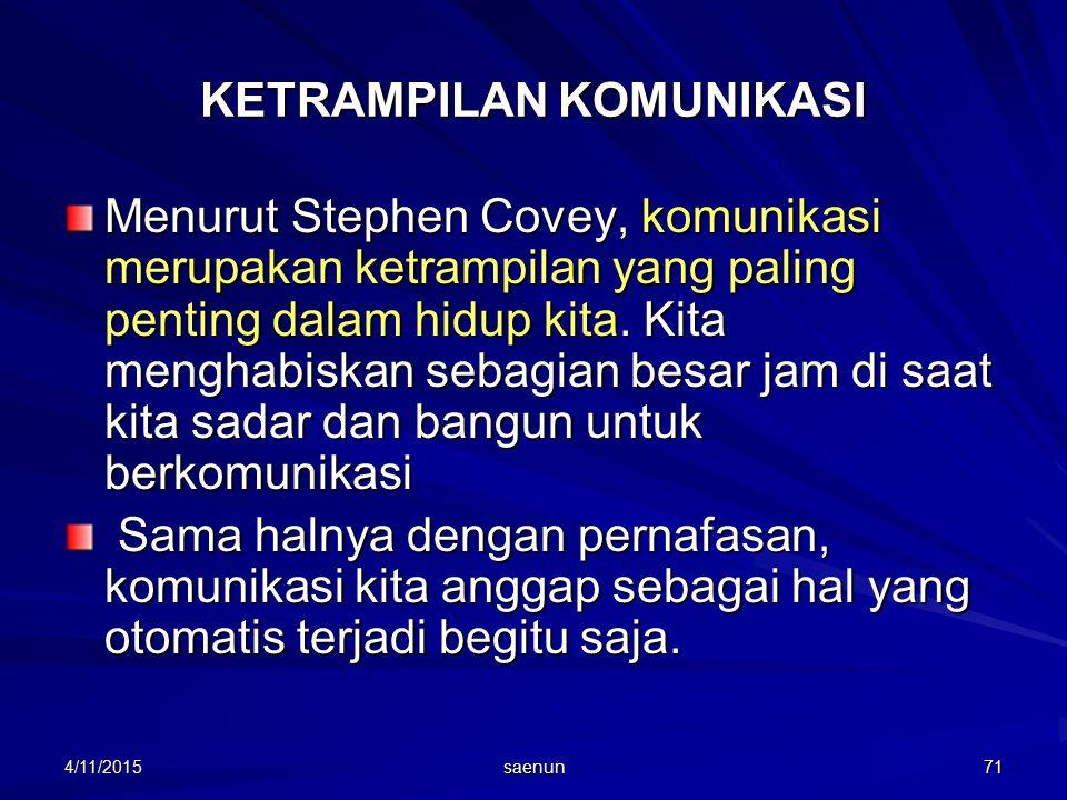4/11/2015 saenun 71 KETRAMPILAN KOMUNIKASI Menurut Stephen Covey, komunikasi merupakan ketrampilan yang paling penting dalam hidup kita.