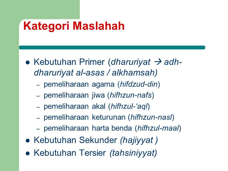 Kategori Maslahah Kebutuhan Primer (dharuriyat  adh- dharuriyat al-asas / alkhamsah) – pemeliharaan agama (hifdzud-din) – pemeliharaan jiwa (hifhzun-nafs) – pemeliharaan akal (hifhzul-'aql) – pemeliharaan keturunan (hifhzun-nasl) – pemeliharaan harta benda (hifhzul-maal) Kebutuhan Sekunder (hajiyyat ) Kebutuhan Tersier (tahsiniyyat)