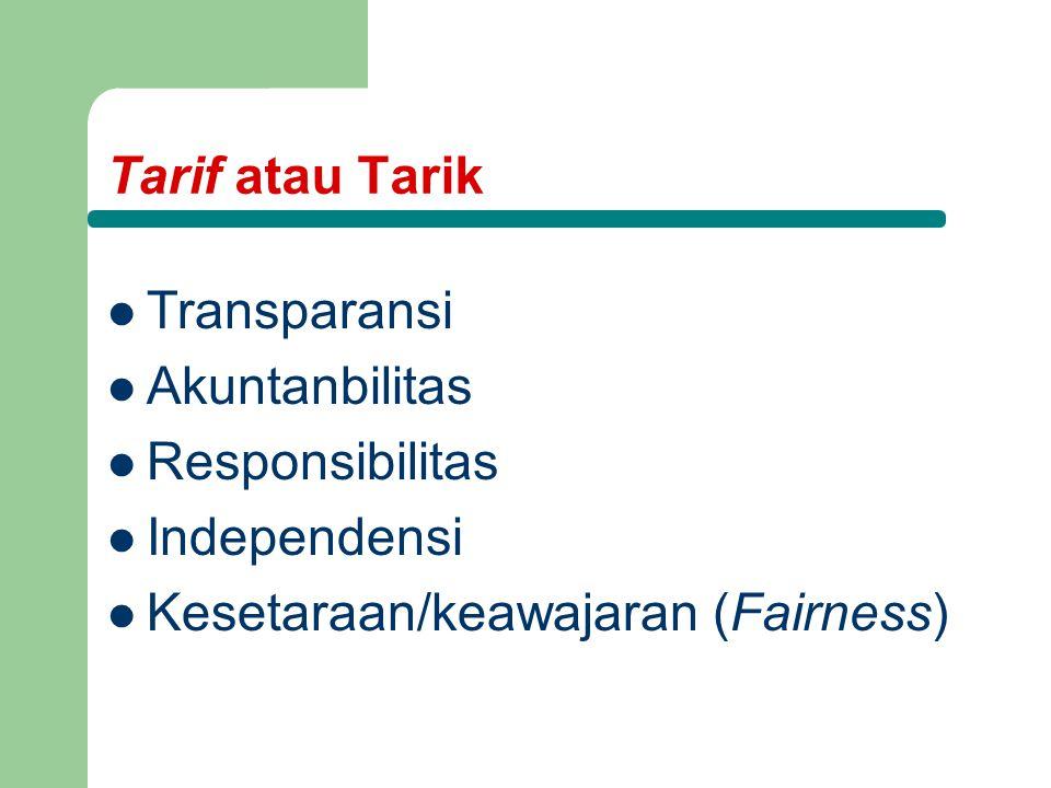 Tarif atau Tarik Transparansi Akuntanbilitas Responsibilitas Independensi Kesetaraan/keawajaran (Fairness)