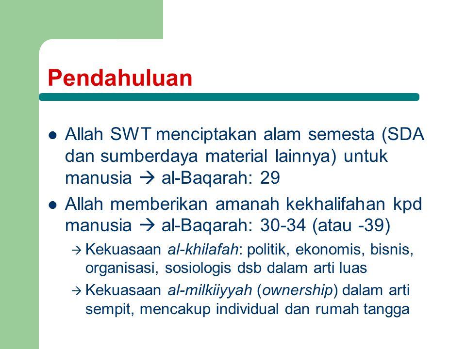 Pendahuluan Allah SWT menciptakan alam semesta (SDA dan sumberdaya material lainnya) untuk manusia  al-Baqarah: 29 Allah memberikan amanah kekhalifah
