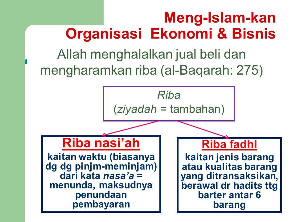Meng-Islam-kan Organisasi Ekonomi & Bisnis Allah menghalalkan jual beli dan mengharamkan riba (al-Baqarah: 275) Riba nasi'ah kaitan waktu (biasanya dg dg pinjm-meminjam) dari kata nasa'a = menunda, maksudnya penundaan pembayaran Riba fadhl kaitan jenis barang atau kualitas barang yang ditransaksikan, berawal dr hadits ttg barter antar 6 barang Riba (ziyadah = tambahan)